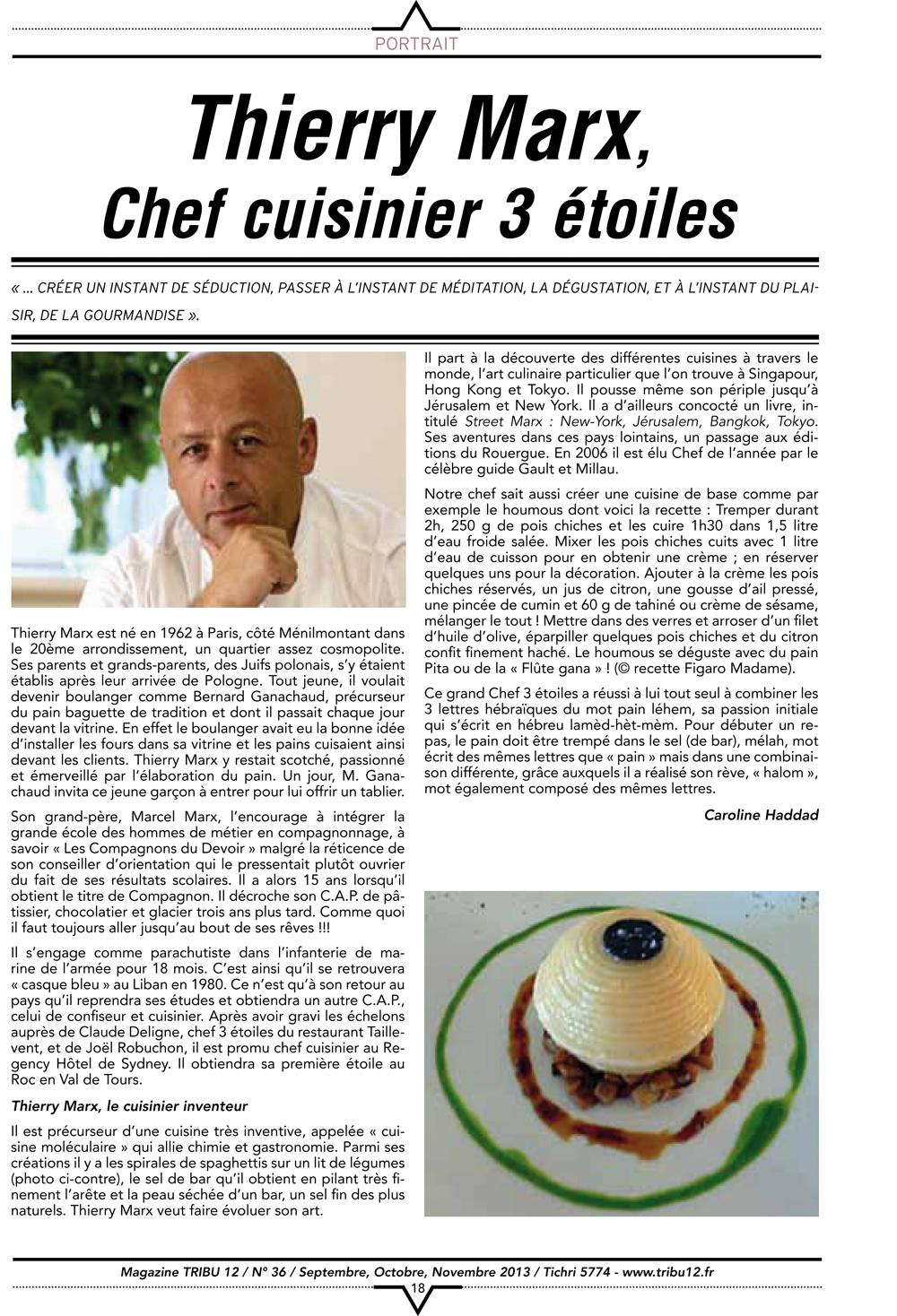 Portrait thierry marx chef cuisinier 3 toiles for Cuisinier 3 etoiles legumes